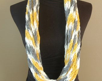 Long, Hand-Knit Infinity Scarf in White, Yellow, and Gray