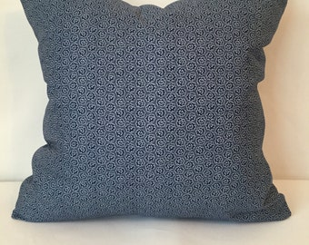 "Blue pillow cover, 18"" x 18"", small floral print"
