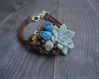Girlfriend gift for Wife gift Boho bracelet Botanical bracelet Succulent jewelry Cute bracelets Polymer clay bracelet Rose Nature bracelet