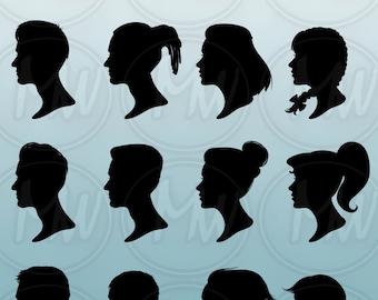 Profile Silhouettes, Men, Women, Vector, Illustration, Girl, boy, Profile, Silhouette, Clipart, Head, Instant Download, Digital, Stamp, #024