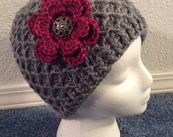 Crocheted Beanie, Adult Size With or Without a Flower