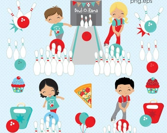 Bowling Party clipart, Bowling clipart, Bowling kids clip art, Bowling Papers, Bowling Pins, Red & Blue, Commercial License Included