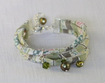 Liberty Fabric Bracelet, Green - with Swarovski crystals and freshwater pearl charms
