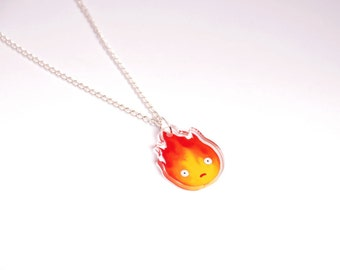 Calcifer necklace - Howl's moving castle - Hayao Miyazaki - Ghibli studio - Japanese - Acrylic - Geek and cute