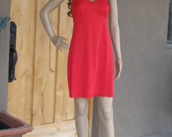 Vintage Red Full Slip, 1960's Fashion, by Lorraine, Lingerie, Pin Up, Boudoir