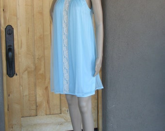 Vintage Babydoll Chiffon Nightgown, Blue Nightgown, Vintage Nightgown, 1960's Fashion, Pin Up, VHIS