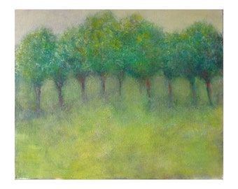 """Impressionist painting 19,7"""" x 24"""" . Green trees painting. French landscape painting. Contemporary  painting with trees. Artwork, wall art"""