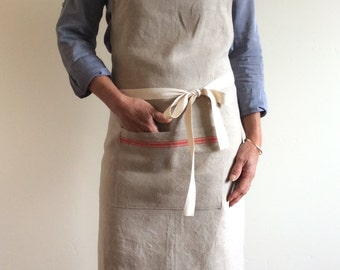 Handmade Apron, Vintage Linen, Orange-Striped,repurposed linen, linen apron,