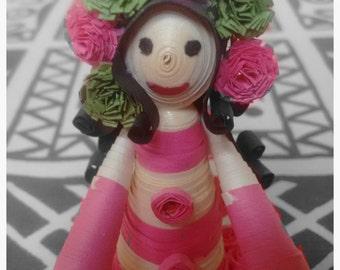 Miniature Quilled Doll with flower-band in her long,curly hair