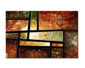"""39"""" x 24"""" Geometric Abstract Painting Modern Large Wall Art Abstract wall art Earth tones wall art, brown abstract painting"""