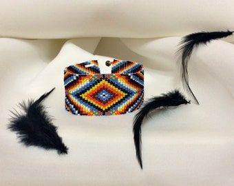 Stunning Fire Native America Bead Bracelet, Bead Loom Bracelet, Loom Bead Bracelet, Native America Jewelry, Native America Bead Jewelry