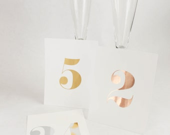 Gold Foil Table Number Cards with Optional Reserved Table Cards // Gold Foil Wedding Table Numbers //  4 Reserved Table Cards Optional