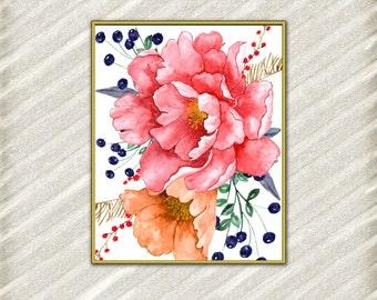 """Flowers digital prints: """"FLORAL DIGITAL PRINT"""" Watercolor prints Peonies art print Pink flower print Floral room decor Nursery wall art"""