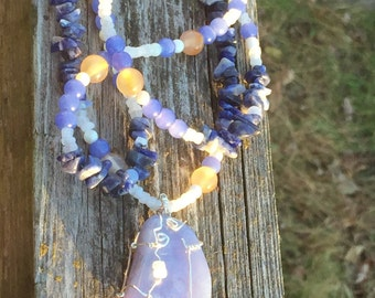 Blue Lace Agate in Silver Wire Wrap & Gemstone Necklace