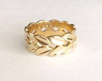 Vintage 14K Gold Ring, Eternity Band, Leaf Ring Size 6.75