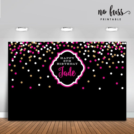 Chic Pink And Gold Backdrop Adults Party By NoFussPrintable