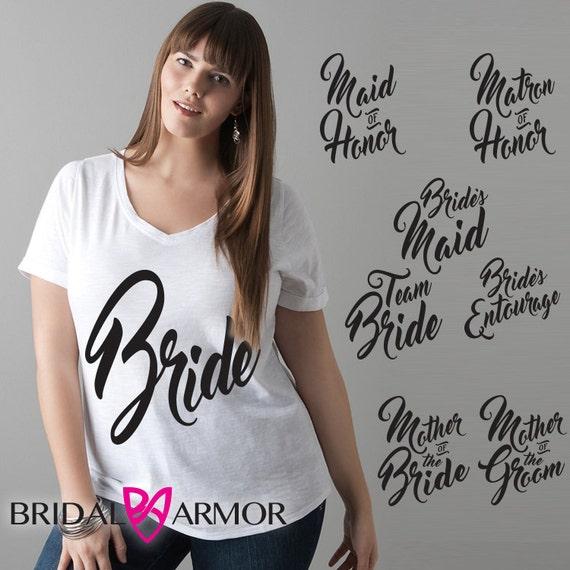 T sayings bridal shower vneck shirt bride maid of by for Bridal shower t shirt sayings