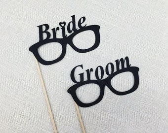 Bride and Groom Glasses / Bride & Groom Photobooth Props / Wedding Props / Engagement Shoot / FULLY ASSEMBLED / 2 Pc