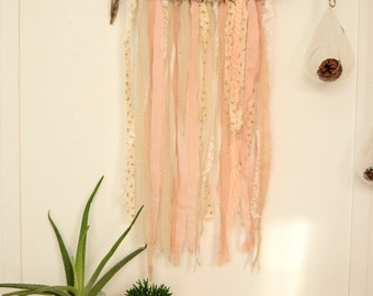 CUSTOM - Wall hanging driftwood and ribbons - lace linen burlap Ribbon