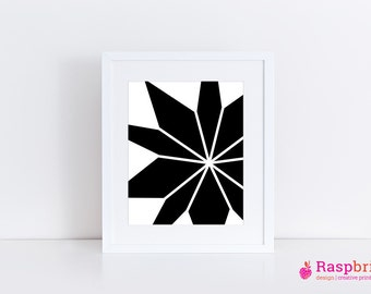 Abstract print black, digital print, home decor, modern, scandinavian,, bold, black & white, simplistic, geometric