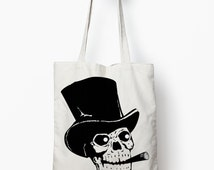 Skull tote bag, Skull bag, canvas tote bag