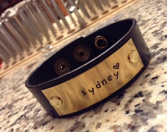 Personalized Stamped Metal Leather Bracelet; Custom Cuff; Personalize Leather Metal Stamped Wristband - Hand Stamped Jewelry