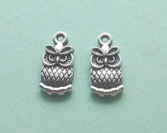10 pc Owl Charm Silver - CS2239