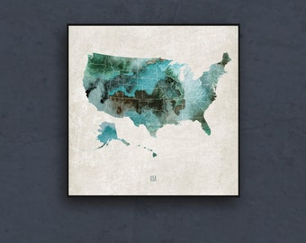 Watercolor map of the United States. Map wall art print. Watercolor map print. World map poster by takeTHEPICTURE
