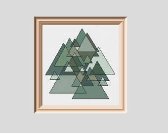 Forest for the Trees Geometric Cross Stitch Pattern PDF instant download