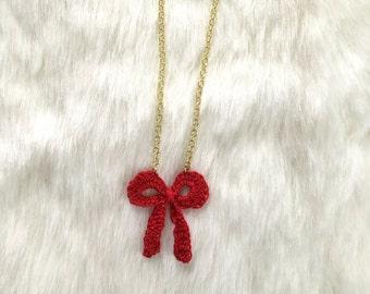 Crochet Bow Pendant Necklace