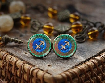 Sagittarius Zodiac stud earrings, Sagittarius earrings, Sagittarius Zodiac Jewelry, Sagittarius Zodiac Sign, Astrology earrings,