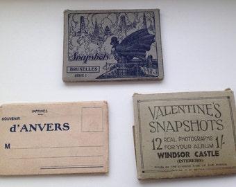 3 Packs 1930s vintage postcards - Windsor Castle/Brussels/Anvers