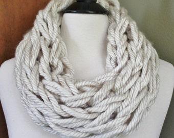 Chunky Cream Arm Knit Scarf