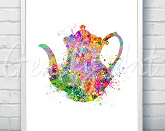 Kitchen Teapot Watercolor Art Print  - Teapot Watercolor Art Painting - Teapot Poster - Kitchen Decor - Home Decor - House Warming Gift [1]
