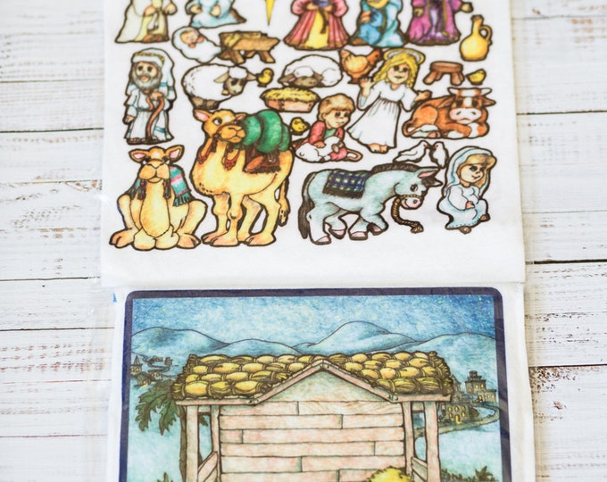Nativity 10 in - story picture pocket, felt boards, felt pieces, girls and boys, quite toy, church toy, car toy, flannel board