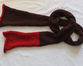 Brown and red wool mix handknit scarf