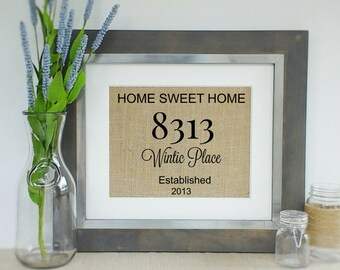 Housewarming Gift | Rustic Home Decor | Burlap Print | Gift for Couples | Custom Personalized Gift | Home Address Print | Home Sweet Home
