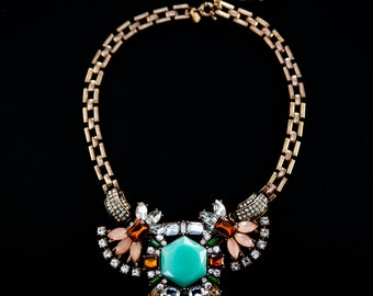 Turquoise and Crystal Statement Necklace, Gold Necklace, JCREW Inspired, Rhinestone and Turquoise Necklace