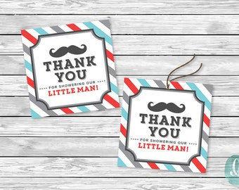 Printable Tag Little Man Barber Shop Mustache Baby Shower Party  Printable Sticker Favor Tag Thank You Boy Shower Decor Instant Download