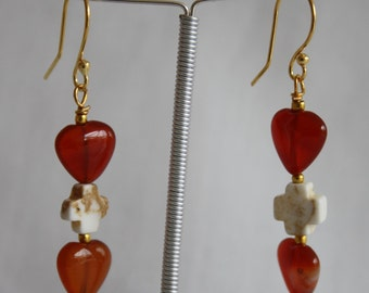 Carnelian and Magnesite Earrings