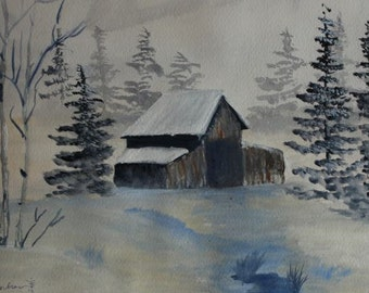 Snow Capped Cabin in the Woods by CGWatercolor