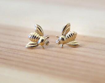 14K Gold Honey bee Earrings, Bees jewelry, Bee jewelry, Gold bee stud earrings, Honey bee jewelry, Bumble bee, gold studs, Dainty earrings