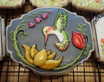 Hummingbird & Flowers Sugar Cookie