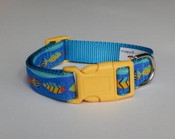 Tropical Fish Dog Collar, Fish Dog Collar, Boy Dog Collar, Adjustable Dog Collar