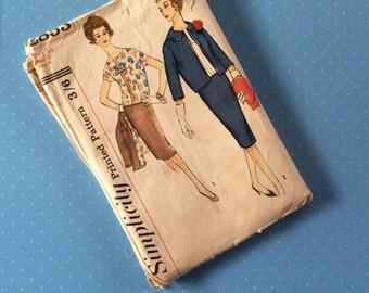 "Vintage Sewing Pattern - Simplicity 2853 - Retro 1960's Dressmaking Pattern - Size 16 1/2 Bust 37"" Hip 41"" Sewing Jacket Shirt Skirt Pattern"