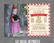 Teddy Bear Picnic Invitation, Teddy Bear Invitation, Photo, Girl, Boy, Teddy Bear Party, Vintage Teddy Bear, Printed, Digital, Printable