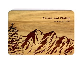 Engraved Cutting board Mountains Personalized Wedding gift Gift for couple Personalized Cutting Board Wedding cutting board Kitchen decor