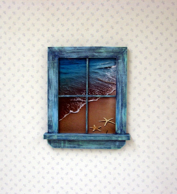 Unique Handmade Wall Decor : Unique handmade picture frame window style blue green