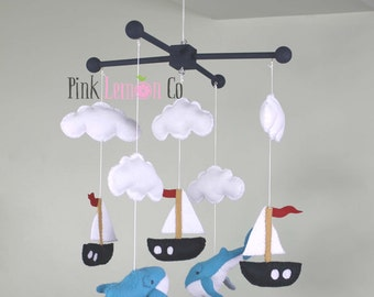 Baby Mobile, Whales and sail boats baby mobile
