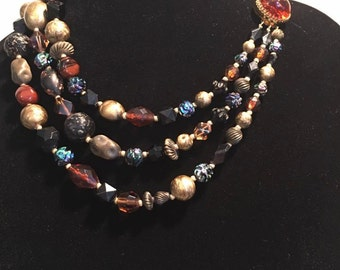 Vintage Hattie Carnegie 3 strand necklace